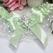 """Подвязка для невесты """"Дебют"""" (с мятной лентой)"""