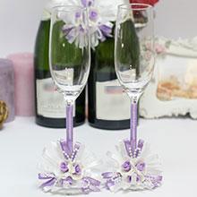 """Свадебные бокалы для молодоженов """"Валенсия"""" (сирень)"""