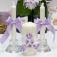 """Свадебные свечи """"Валенсия"""" (3 свечи) (сирень)"""