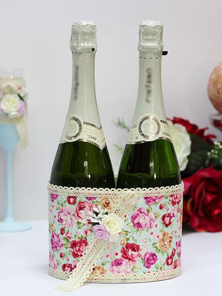 Декоративный чехол для шампанского Лето в Провансе (голубой)
