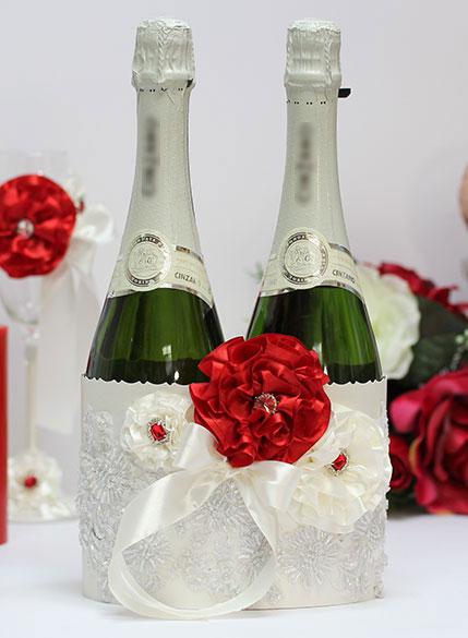 """Чехол для шампанского """"Марокканские розы"""" (красный)"""