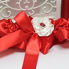 """Подвязка для невесты """"Марокканская роза"""" (красная)"""
