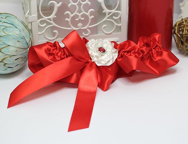 Подвязка для невесты Марокканская роза (красный)