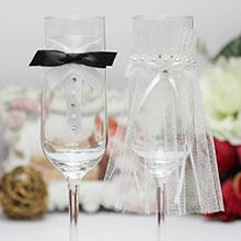 """Свадебное украшение на бокалы """"Идеальная пара"""""""