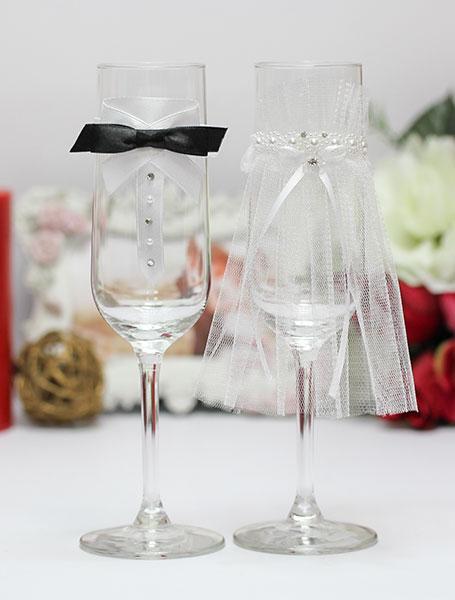 Свадебное украшение на бокалы Идеальная пара (2 шт) (черный)
