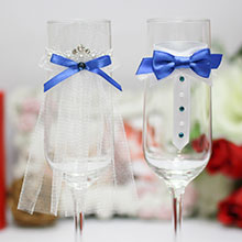 """Свадебное украшение на бокалы """"Идеальная пара"""" (синий)"""