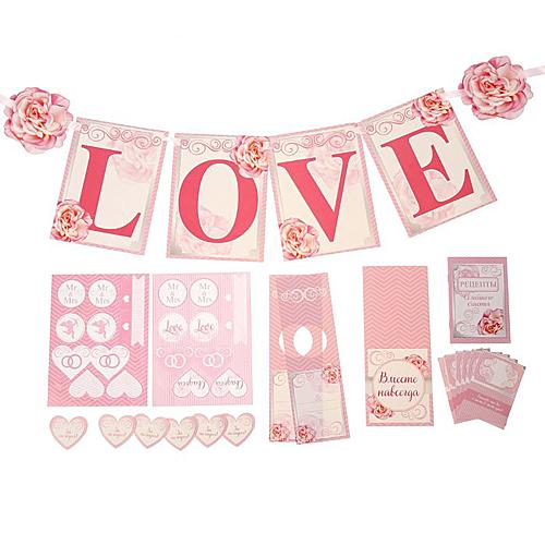 Набор для оформления свадьбы, розовый