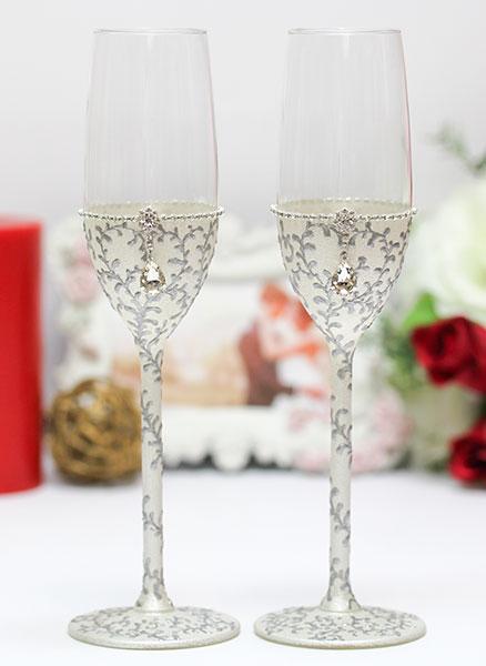 """Свадебные бокалы """"Рококо"""" (2 шт) (серебряный)"""