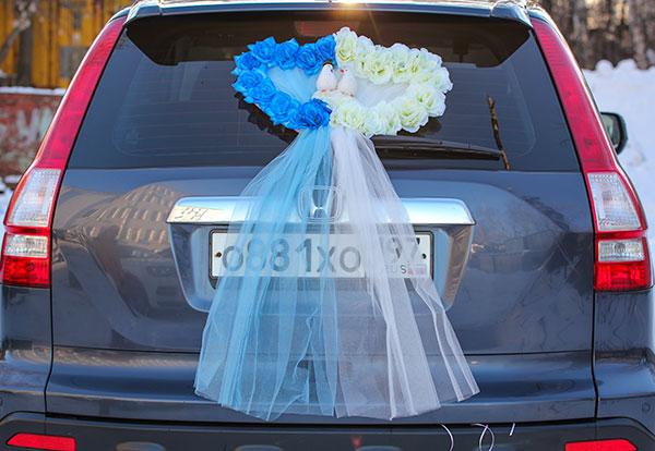 """Украшение на багажник """"Свадебные голубки"""""""