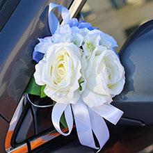 Бутоньерки - украшение на машину Виолла, букетик (айвори/голубой)