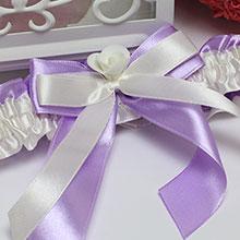 """Подвязка для невесты """"София"""" (айвори с сиренью)"""