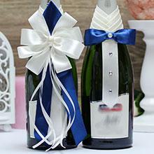 Набор украшений на шампанское Кавалер и дама (айвори-синий)