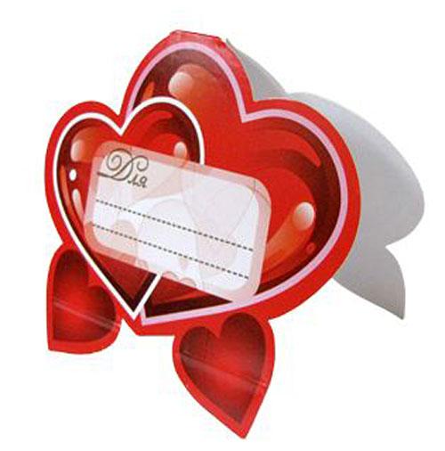 """Банкетная карточка для гостей """"Сердечко"""" (красный)"""