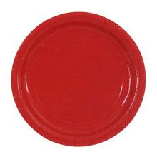 Набор бумажных однотонных тарелок (10 шт, 18 см, красные)