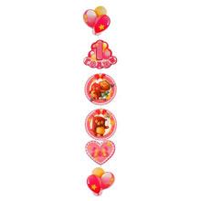"""Вертикальная гирлянда """"1 годик"""" (розовая)"""