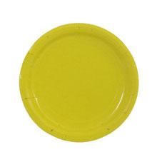 Набор бумажных однотонных тарелок (10 шт, 18 см, желтые)
