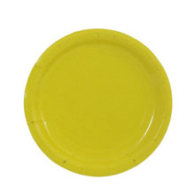Набор однотонных бумажных тарелок (10 шт, 18 см) (желтый)