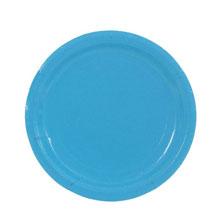 Набор бумажных однотонных тарелок (10 шт, 18 см, голубые)