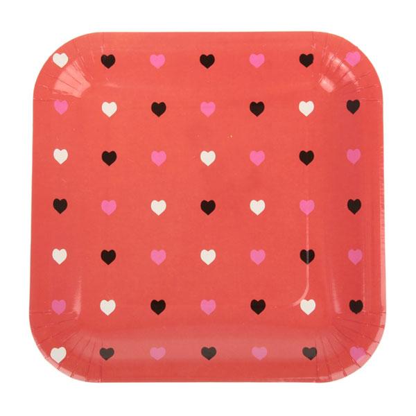 """Квадратные бумажные тарелки """"Сердечки"""" (6 шт, 23 см, красные)"""
