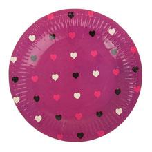 """Круглые бумажные тарелки """"Сердечки"""" (6 шт, 18 см, фуксия)"""