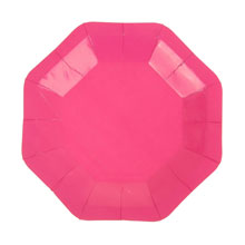 Восьмиугольные бумажные тарелки (6 шт, 18 см, розовые)