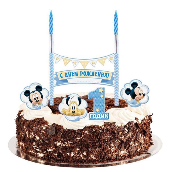 """Набор для украшения торта с 2 свечами """"1 годик"""""""
