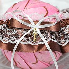 """Подвязка для невесты """"Золотой ключик"""" (коричневая)"""