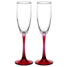 Свадебные бокалы для шампанского с красной ножкой (2 шт)