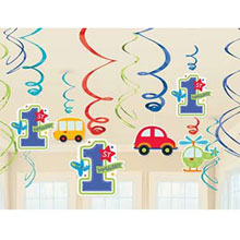 Праздничные подвески-спиральки 1 день рождения (12 шт, транспорт)