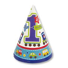 Набор колпачков 1 день рождения (8 шт, транспорт)