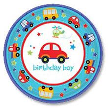 Тарелки бумажные 1 день рождения (17 см, 8 шт, транспорт)
