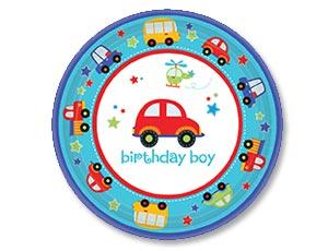 """Тарелки бумажные """"1 день рождения"""" (17 см, 8 шт, транспорт)"""