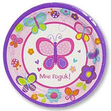"""Тарелки бумажные """"1 день рождения"""" (17 см, 8 шт, бабочка)"""