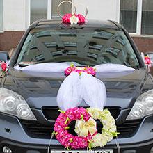 """Набор свадебных украшений на машину """"Пионовые кольца"""""""