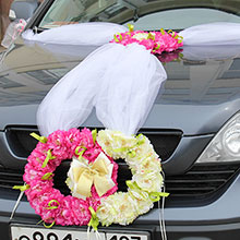 """Лента на свадебную машину """"Пионовые кольца"""""""