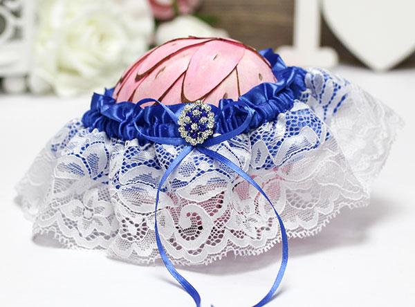 """Подвязка для невесты """"Мерцание"""" (синий)"""