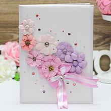 """Папка о браке """"Летние цветы"""" (розово-сиреневый) для свидетельства 18х25 см."""