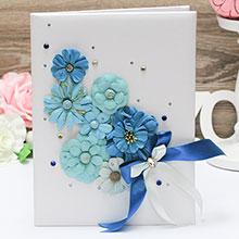 """Папка для свидетельства о браке """"Летние цветы"""" (сине-бирюзовый)"""