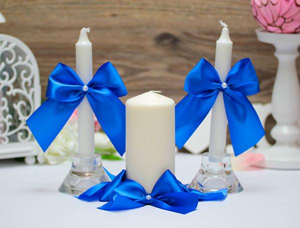Домашний очаг + 2 свечи Paradise (без подсвечников) (синий)