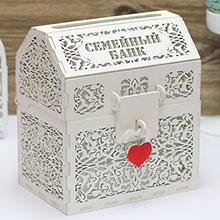 Деревянная резная шкатулка для свадебных подарков