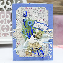 """Свадебная открытка ручной работы """"Семейное гнездышко"""" (синяя)"""