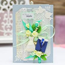 """Свадебная открытка ручной работы """"Молодожены"""" (серая)"""