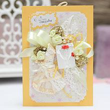"""Свадебная открытка ручной работы """"Молодожены"""" (желтая)"""