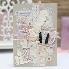 """Свадебная открытка ручной работы """"Молодожены"""" (серо-бежевая)"""