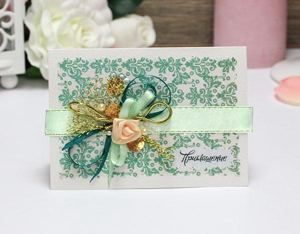 Приглашение на свадьбу ручной работы Дивный сад (изумрудный)