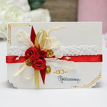 """Приглашение на свадьбу ручной работы """"Дивный сад"""" (красное)"""