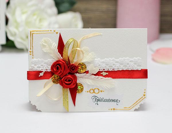 Приглашение на свадьбу ручной работы Дивный сад (красный)