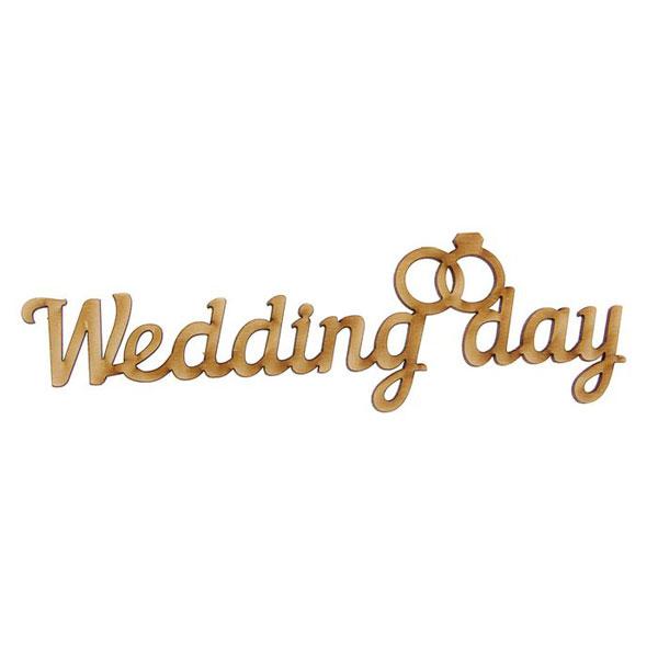 """Миниатюрное деревянное слово """"Wedding day"""" (без покраски; 20 см)"""