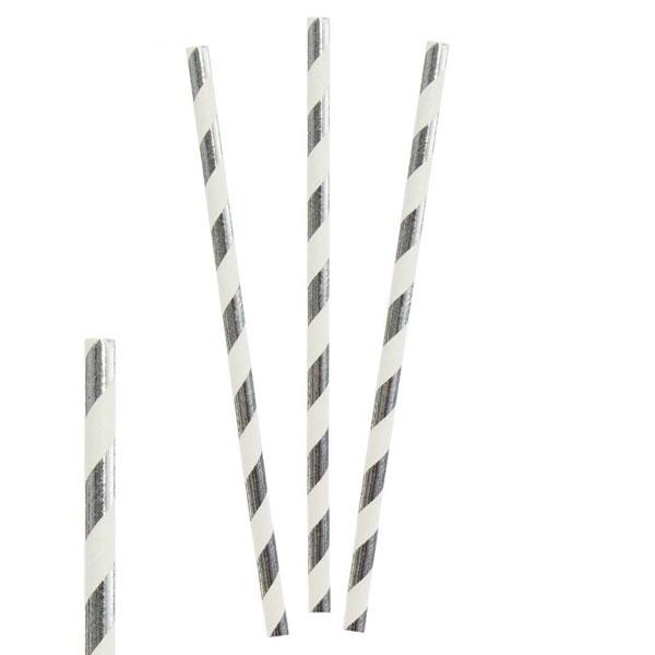 Трубочки для коктейля Stripes (12 шт) (серебрянный)