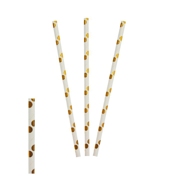 "Трубочки для коктейля ""Dots"" (12 шт, золотистые)"